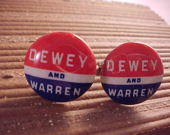 Dewey Warren Vintage Political Campaign Button Cuff Links - Free Shipping to USA