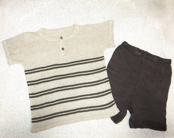 Toddler Crew Neck Knit Pure Linen Set - Shorts and T-Shirt