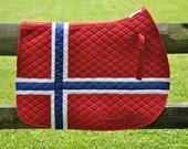 Norwegian Flag Saddle Pad Fjordhorse Fjord English All Purpose or Dressage Pad WHOA TEAM