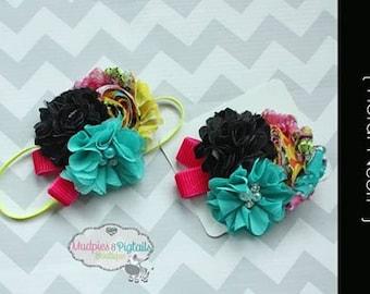baby headband { Floral Neon } hot pink, black neon yellow, lace Flower Headband, cake smash, Summer Beach Bright Circus photography prop