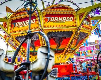 Tornado Carnival Ride Fine Art Print- Carnival Art, County Fair, Nursery Decor, Home Decor, Children, Baby, Kids
