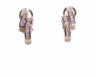 GORGEOUS Estate 14K Gold & 1 CT TW Diamond Hoop Earrings