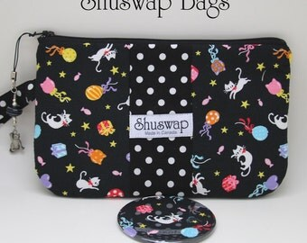 Kitty Cats and Polka Dots Wristlet and Mirror Set