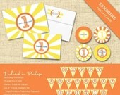 ON SALE Basic Custom Printable Party Package...SUNSHINE Collection...Personalized...by Km Thomas Designs