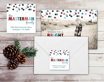 Holiday Return Address Label: Square Label - Confetti Return Address Label - Christmas Label - Return Address Sticker - WH137