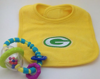 Green Bay Packers Baby Bib NFL Embroidered Baby Shower Gift for New Dad Gift Cheeseheads Football Fans