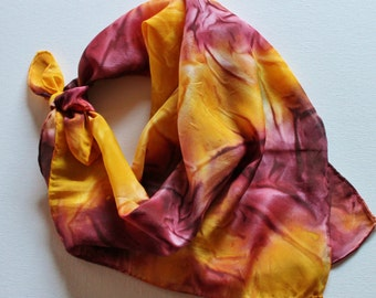 Hand Painted Silk Square Scarf - Hand Dyed Bandana Maroon Burgundy Dark Red Gold Yellow Mustard Minnesota Gophers