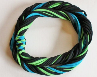 T Shirt Scarf - Infinity Circle Scarves Recycled Cotton - Lime Green Apple Chartreuse Electric Blue Dark Turquoise Black Bright