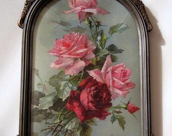 Catherine Klein, Pink Roses, Art Print, Half Yard Long, Antique Barbola Frame, Convex Glass
