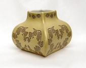 Corn Silk Yellow Stoneware Gourd Vase Home Decor Ceramic Pottery Handmade Pot
