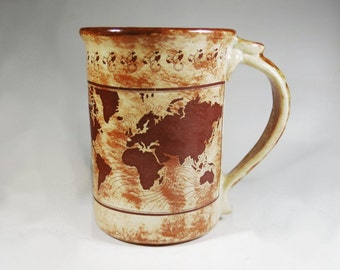 World Map Mug Large Made to Order Sepia Coffee Cup Gift for Travelers