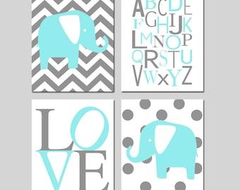 Aqua Teal Gray Elephant Nursery Wall Art - Set of Four 8x10 Prints - Polka Dot Chevron Elephants, Modern Alphabet, Love - CHOOSE YOUR COLORS