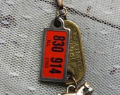 Vintage License Plate Tag NECKLACE with Cracker Jack Charm Dog- Dog Tag Montgomery PA-Found Object Jewelry-Dog Lover