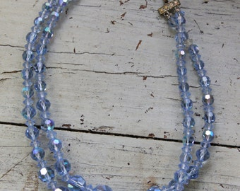 Vintage BLUE CRYSTAL 2 Strand Necklace- Glam Sparkle Jewelry- Crystal Choker- Bride Necklace- Wedding Jewelry