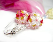 Precious Rose Earrings, Pink White Floral Lampwork Earrings, Beadwork Earrings, Flower Glass Bead Earrings, - Rose
