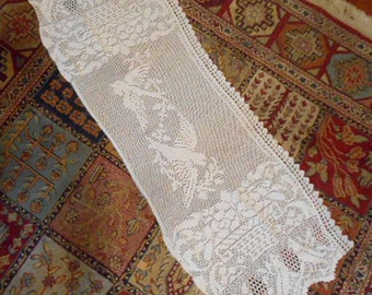 "Soft BLUEBIRD DRESSER SCARF Table Runner, Vintage Edwardian Crochet Lace, Detailed Swooping Birds White Cotton Stitches, Rare Find 16"" x 44"""