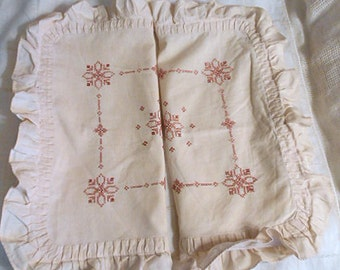"""2 ACCENT PILLOW COVERS Rose & Pink Cross Stitch Designs on Soft Beige Cotton, Pleated Ruffles Handmade Matched Set Zipper Opening 16"""" Sq"""