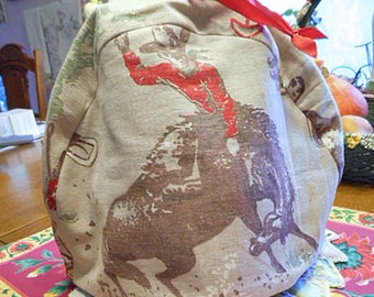 Cozy COWBOY TEAPOT COSY Bucking Bronco Horse Calf Roping Holster & Gun Rodeo, Western Theme Tan Cotton, Soft Flannel Lined 9 x 12 Guy Gift