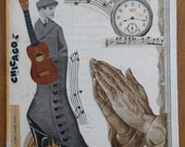 Chicago Troubadour' Original Collage Art on recycled book cover, one of a kind Art
