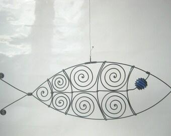 Wire Fish Sculpture In Cobalt Blue