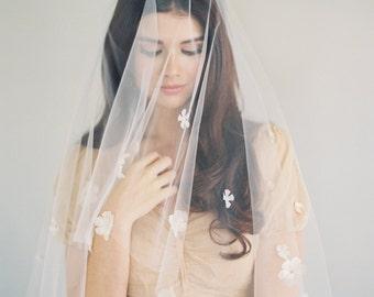 Silk Bridal Veil, Hand Cut Silk Flowers, Blusher Veil, Two Tier Veil, Swarovski Veil, Tulle Veil, Drop Veil, Ivory Silk Floral Veil, 1619
