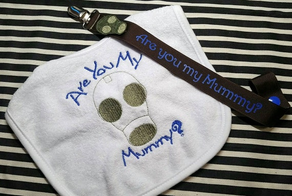 doctor who are you my mummy bib and monogrammed pacifier clip