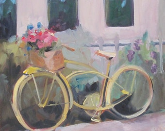 bicycle painting, yellow, impressionism, impressionistic, contemporary oil painting, landscape - city scape - 18 x 18 inch oil painting