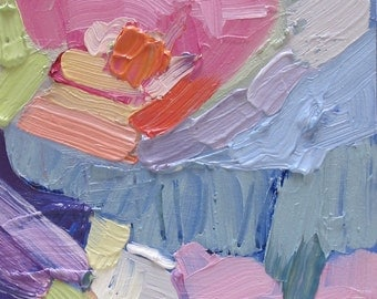Rainbow....abstract, impasto, oil on paper, creamy pastel colors