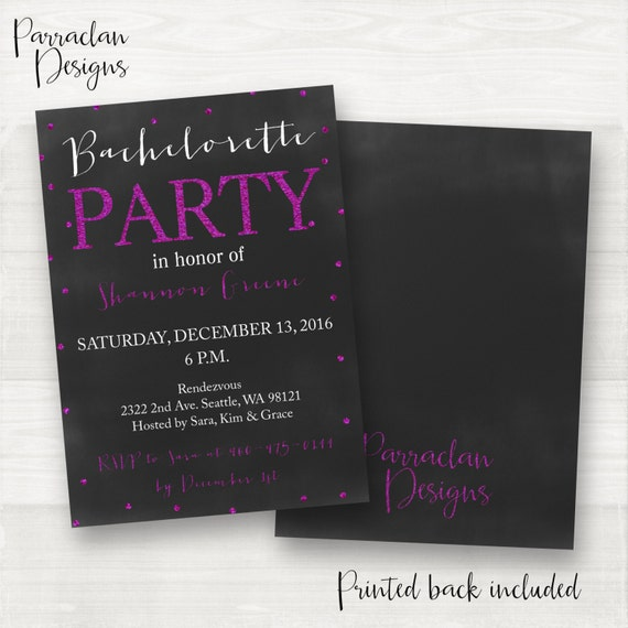 Bachlorette Invitations | Girls Night Out Invitation | Bachelorette Party | Hen's Party Invitation | Glitter | Black | Purple | BP07