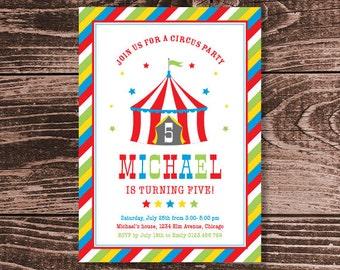 Circus Party Invitation – DIY Printable Personalized – Big Top Red (Digital File)
