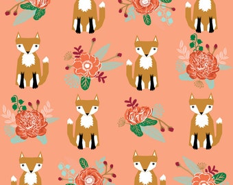 Fox Fabric - Autumn Fox Flowers Cream Autumn Fall Woodland Fox By Charlotte Winter - Cotton Fabric by the yard With Spoonflower