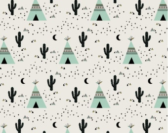 Cactus & Teepee Mint fabric by Kimsa - Southwestern Tipi and Cacti printed on a variety of cotton fabrics - by the yard with Spoonflower