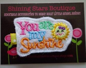 Felt Hair Clip - Girls Hair Accessories - Rainbow 'You Are My Sunshine' With A Smiley Sun Embroidered Felt Hair Clippie - Summer Accessory