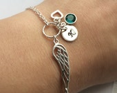 Personalized Angel Wing Bracelet in Sterling Silver  Sympathy gift Memorial gift
