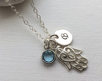 Personalized Hamsa Hand Necklace in Sterling Silver - Initial and Birthstone Hand of Fatima Necklace