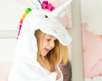 Personalized Yikes Twins Unicorn Hooded Towel