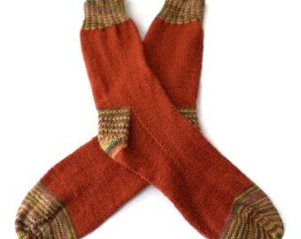 Socks - Hand Knit Men's Pumpkin & Earthtone Socks - Casual Socks -  Size 10-11