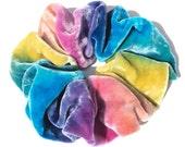 Sumptuous SILK VELVET Scrunchie, dusty bright rainbow, hand dyed, soft for hair