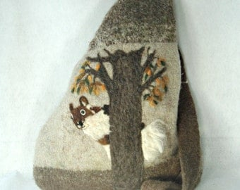 Felted Purse, Felted Tote, Squirrel Art, Needle Felt Squirrel, Felted Satchel