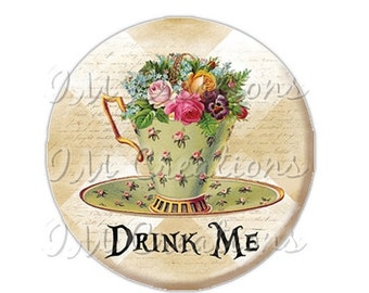 """50% OFF - Pocket Mirror, Magnet or Pinback Button - Wedding Favors, Party themes - 2.25""""- Alice In Wonderland Tea Time MR269"""