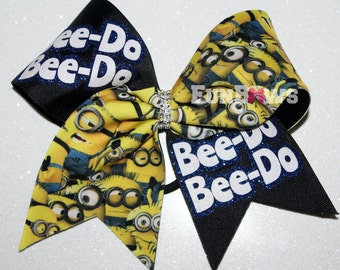 Bee-do Bee-do Minion Cheer bow by FunBows - FUN !!