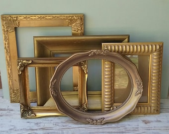 Vintage Gold Picture Frame Collection Gallery Wall Frames