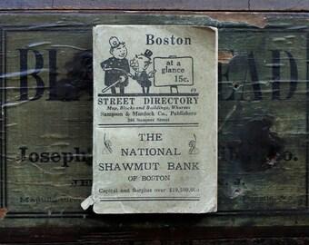 Antique Boston Street Directory, 1918 Boston at a Glance, Vintage Travel Guide, Boston Ephemera