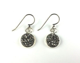 Silver Druzy Drusy Dangly Earrings in Silver Setting with Titanium Wires Hypoallergenic  Sensitive Ears Wedding Bridal Bridesmaid