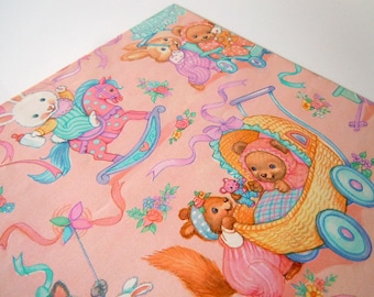 Vintage 1992 Baby Shower Wrapping Paper   Pink Gift Wrap with Baby Bunnies Teddy Bears and Kittens