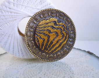 "Vintage XL 2.75"" Gold Glitter Sewing Button Art Nouveau Early Plastic Celluloid Button"