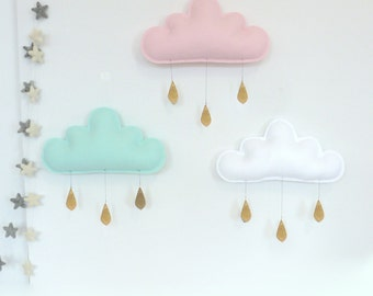 3 Single  Rain Cloud Decor- 3 Spring  rain Cloud Mobiles for nursery by The Butter Flying