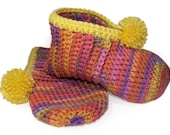 Pink Orange Yellow Crocheted Slippers - (Banana Berry) Hand-Crocheted, Ladies Slippers, Watercolors, Crochet, Lush, Warm, Comfort