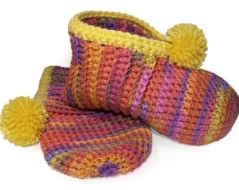 Pink Orange Yellow Crocheted Slippers - (Banana Berry) Hand-Crocheted, Ladies Slippers, Watercolors, Crochet, Lush, Warm, Comfort