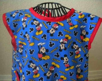 Toddler Mickey Mouse Art Smock, Apron, Bib With Red Bias Trim. Size 4t-5t